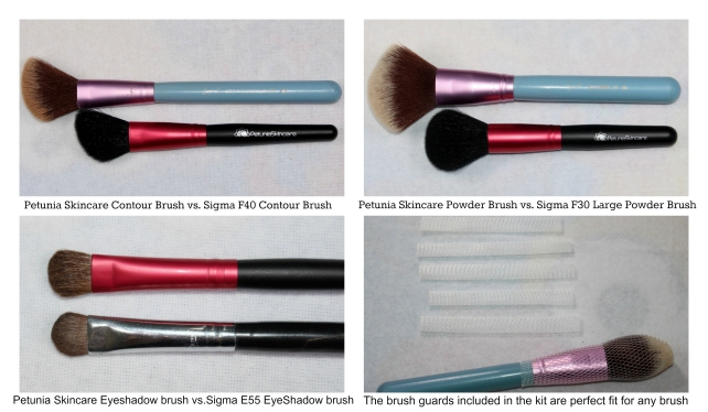 Size of Petunia Skincare Brushes vs. Sigma Brushes