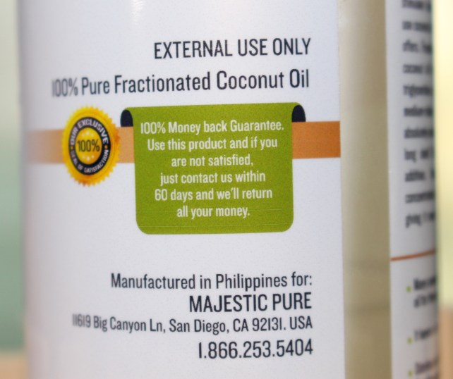 100% Pure Fractionated Coconut Oil by Majestic Pure