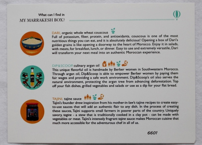 Try The World Box Marrakesh Information Card