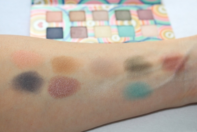 Pacifica Power of Love Coconut-Infused Mineral Eye Shadow Palette swatches without a primer